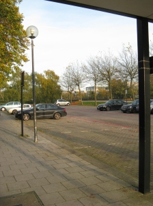 empty parking bays outside Norfolk House, weekday Nov 2013
