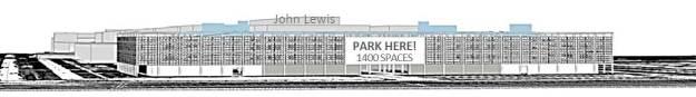 proposed car park: a vast, solid block