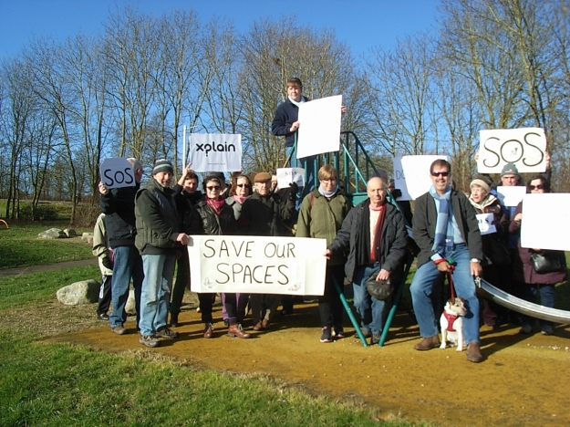 citizens protest in sunny local park threatened with infill development